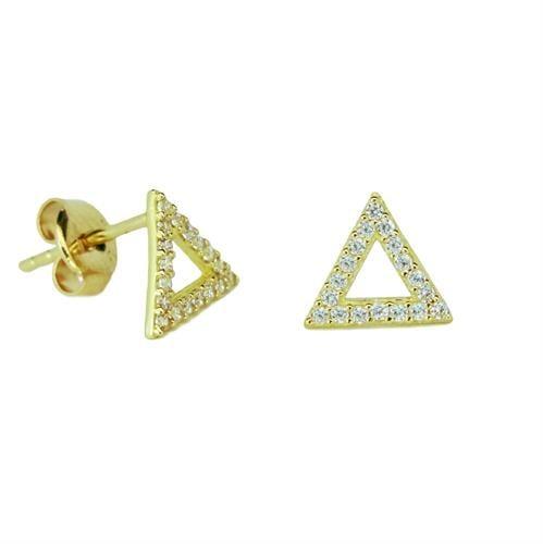 עגילי זהב 14 קרט עם זרקונים צמודים לאוזן בצורת משולש