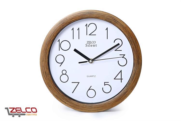 שעון קיר עגול דמוי עץ צבע מייפל מושחר