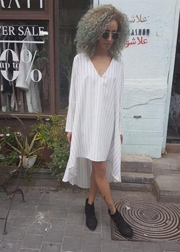 שמלת סלינה פסים לבן