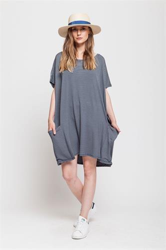 שמלת סמבה פסים נייבי