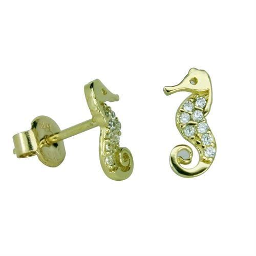 עגילי זהב 14 קרט עם זרקונים צמודים לאוזן בצורת סוס ים