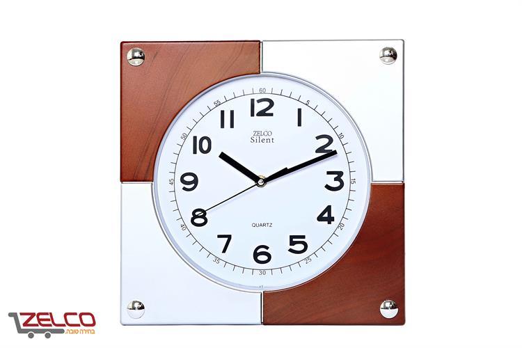 שעון קיר מרובע דגם דמקה צבע עץ/לבן