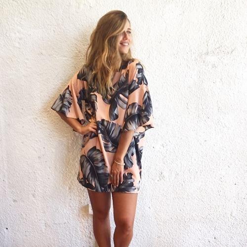 שמלה ליליאנה פרחוני טרופי ורוד