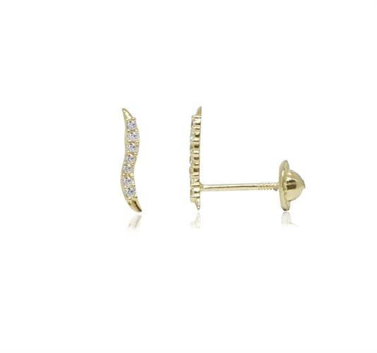 עגילי זהב 14 קראט בסגנון גל (מטפס קטן)