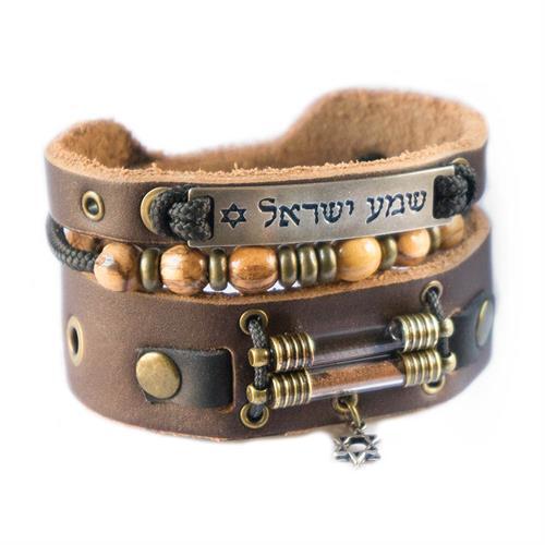 צמיד שמע ישראל עם יסודות ארץ הקודש