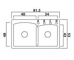 כיור מטבח כפול א-סימטרי תוצרת פרנקה שוויץ דגם אליפס 62F