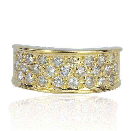 טבעת זהב 14 קרט מעוצבת שלוש שורות ביהלומים 0.95 קראט