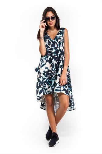 שמלה פרחונית קלרה כחול לבן