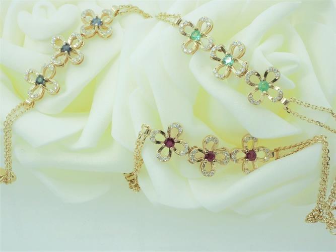 צמיד פרחים זהב אבן חן ויהלומים 0.18 קרט