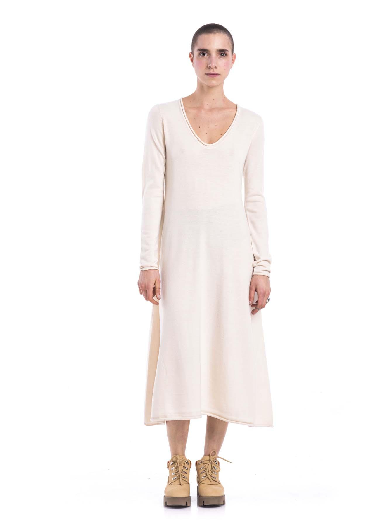 WHITE SUPERFINE MERINO DRESS