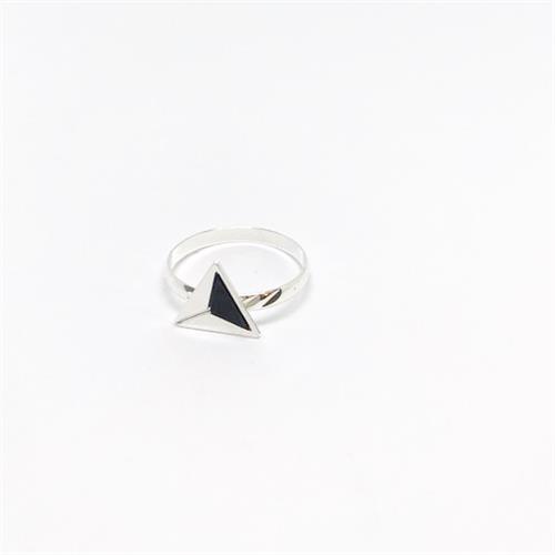 טבעת משולש כסף שחור