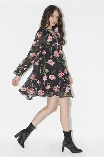 שמלת גסיקה שחור פרחוני