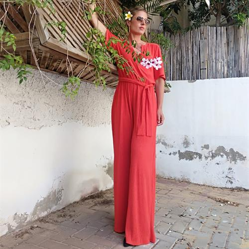 אוברול סאשה פליסה לייקרה אדום