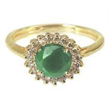 טבעת זהב 14 קרט משובצת אבן חן אמרלד ויהלומים 0.15 קראט