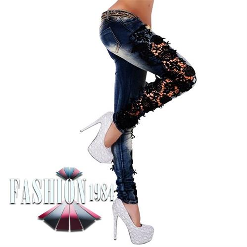 ג'ינס תחרה מעוצב דגם ליירוס קים (צבע כחול)