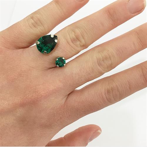 טבעת קייט כסף ירוק
