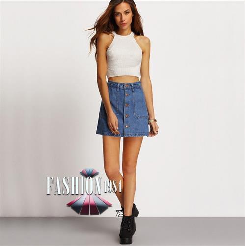 חצאית ג'ינס מעוצבת דגם דיליאנה