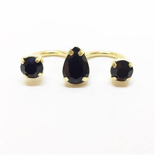 טבעת כפולה טיפה זהב