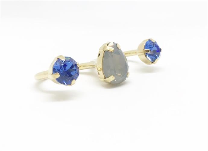 טבעת שלישיה טיפה זהב כחול