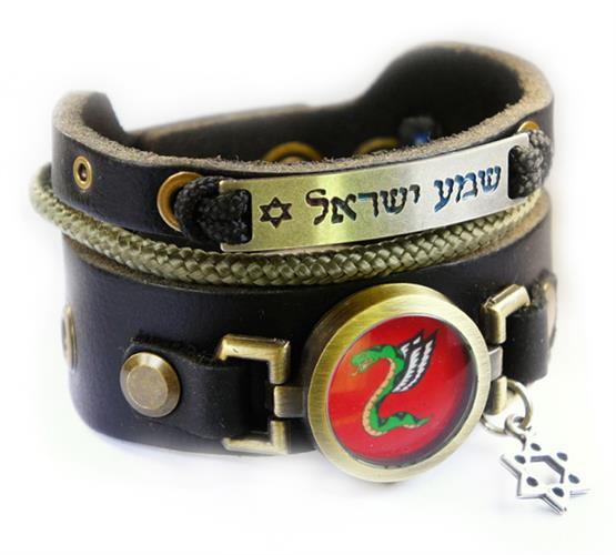 צמיד עור עם חריטה שמע ישראל וסמל של הצנחנים