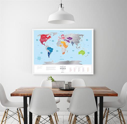 Travel Map Silver Blue