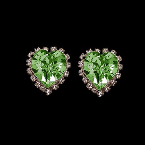זוג קליפסים לב מתוק - PERIDOT-ירוק