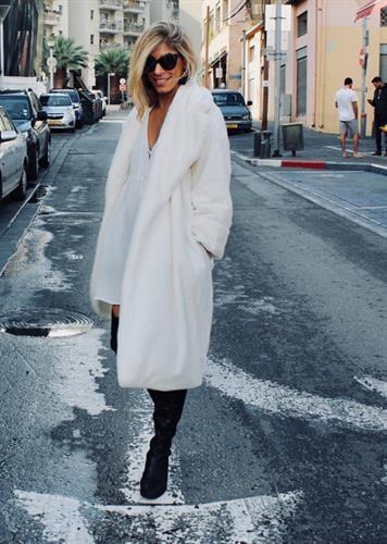 מעיל טיפאני דמוי פרווה לבן