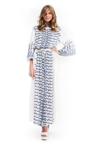שמלת סבאנה לבן רקום