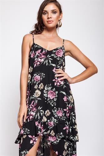 שמלת מנדרין פרחוני שחור