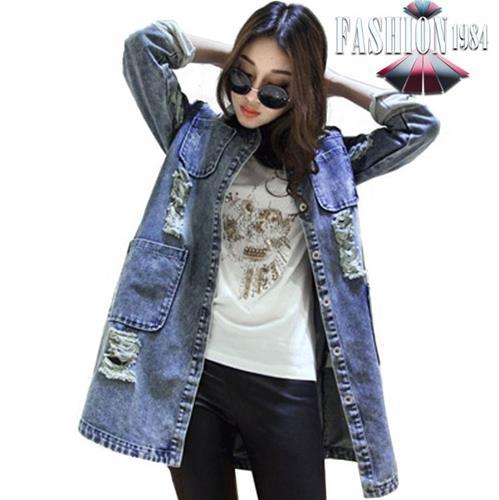 ג'קט ג'ינס משופשף דגם קרולין (צבע כחול)