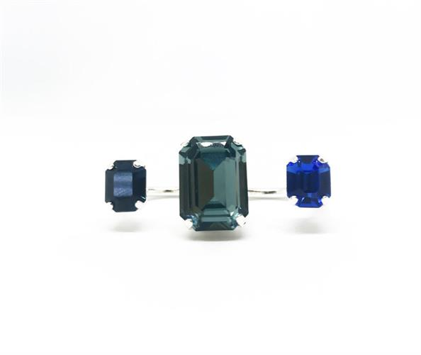 טבעת שלישייה ירוק כחול כסף