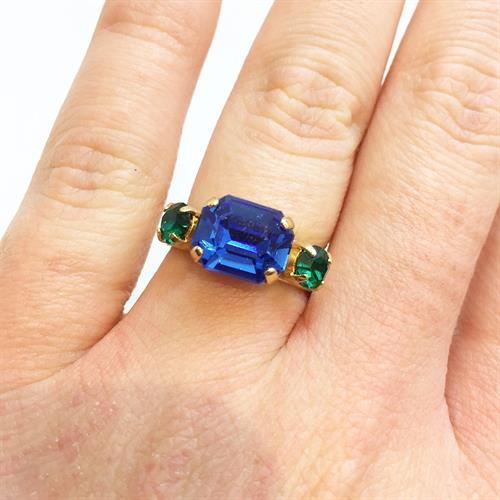 טבעת רובין זהב כחול