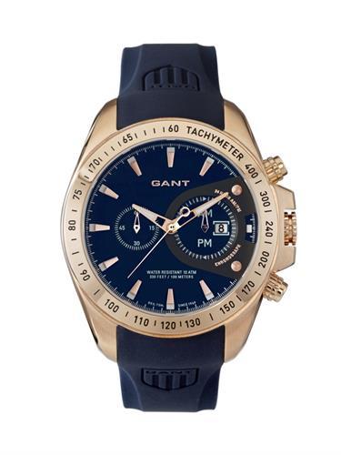 של שעון יד אנלוגי גברים רצועת סיליקון כחולה GANT W103810