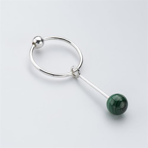Single Malachite Sinker Earring