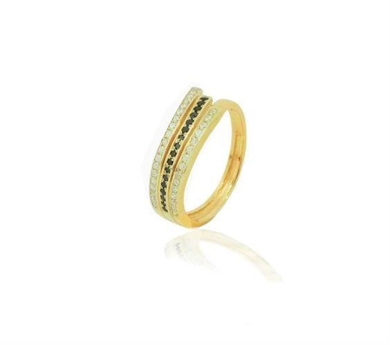 טבעת יהלומים 0.40 קראט בזהב 14 קרט יהלומים לבנים ושחורים