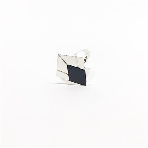 טבעת מניפה כסף שחור