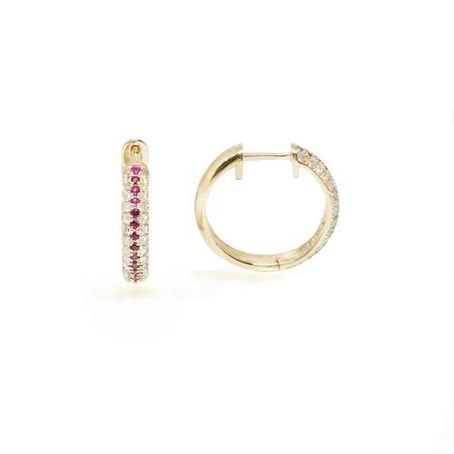 עגילי יהלומים | עגילי חישוק יהלומים | עגילי ג'יפסי רובי ויהלומים |עגילים משובצים