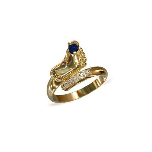 טבעת רגל |טבעת כף רגל | טבעת ליולדת | טבעת כף רגל תינוק | בזהב | יהלומים | אבן ספיר