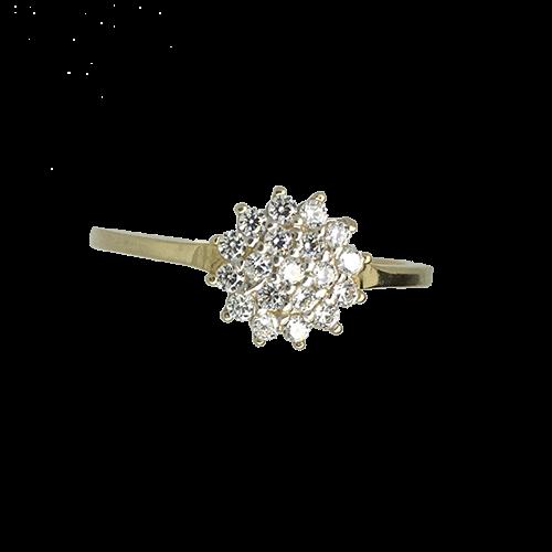 טבעת בנות זהב צהוב 14K פרח משובץ OP11150027030