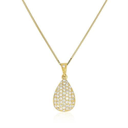 שרשרת יהלומים פאווה בצורת טיפה משובצת יהלומים 2.4 קראט זהב 14 קרט