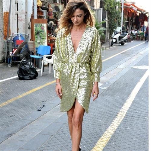 שמלת פייטים סנטנה זהב