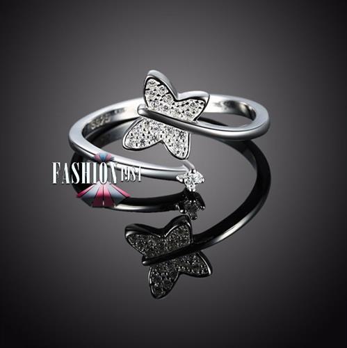 טבעת פרפר עף משובץ ומעוצב אבני זירקון דגם פאפיאון