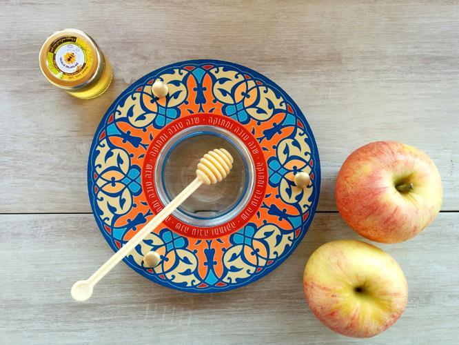 כלי לדבש ותפוחים מנדלה כתום-כחול Dvash_13