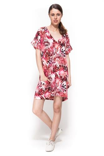 שמלת פלורה מודפס אדום