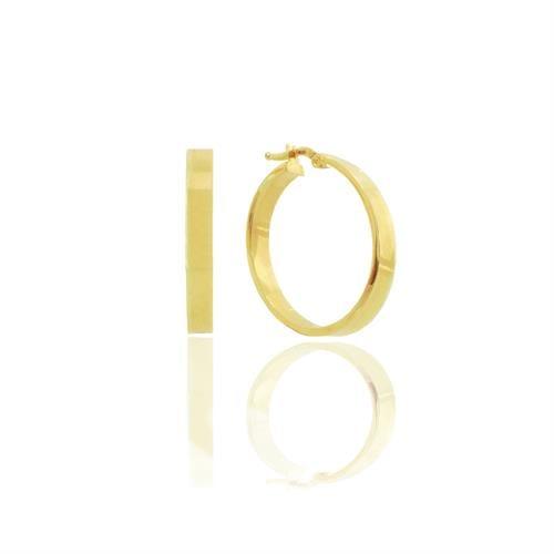 עגילי חישוק רחבים זהב צהוב 14 קראט