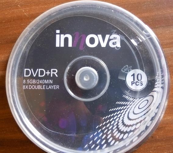 דיסק לצריבה DVD+R 8.5GB x8 CAKE 10 יחידות INNOVA