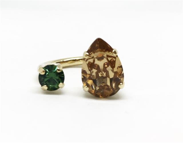 טבעת קייט קפה ירוק זהב