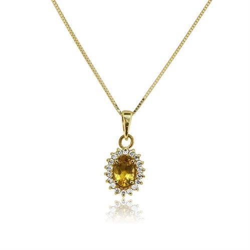 שרשרת ותליון דיאנה זהב 14 קרט משובצת אבן חן סיטרין 1 קראט ו 0.14 קראט יהלומים
