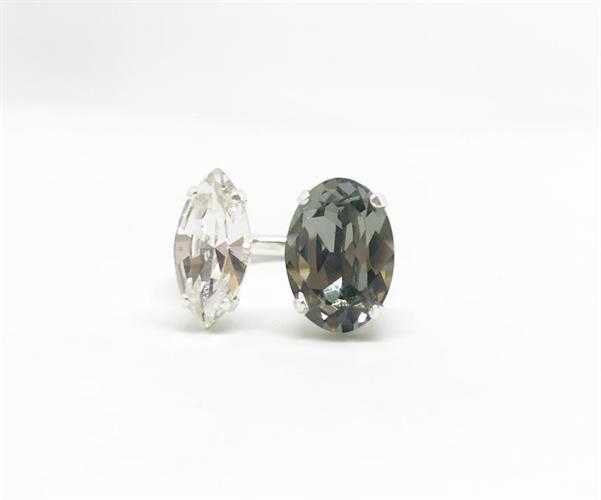 טבעת ניקול אפור לבן כסף