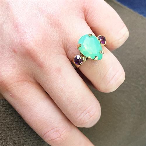 טבעת קלייר זהב מנטה סגול